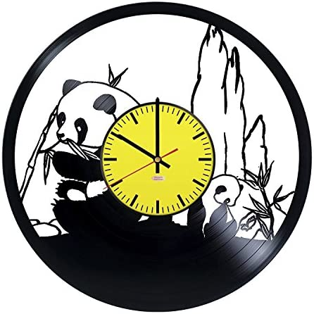 RomanticStuffStore Giant Pandas Handmade Vinyl Record Wall Clock