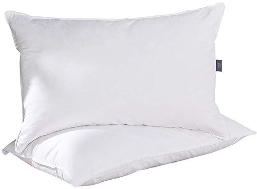 Puredown- almohadas lavable Natural de plumas y plumón de ganso, funda 100% algodón, juego de dos, 48 x 74 cm