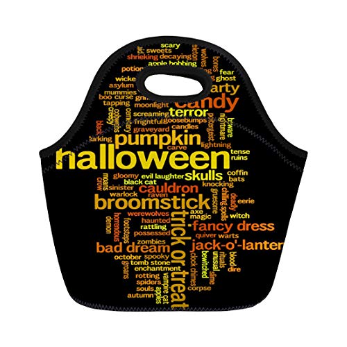 Semtomn Lunch Tote Bag Halloween Word Cloud on Related to Witch Trick Treat Reusable Neoprene Insulated Thermal Outdoor Picnic Lunchbox for Men -