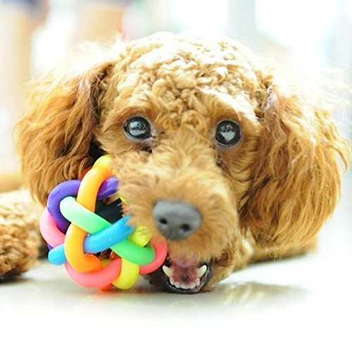 """3"""" Colorful Bell Ball Pet Toy Sound Toys TPR Bite Resistant Rubber Chew Toys Molar Rubber Weave Ball"""