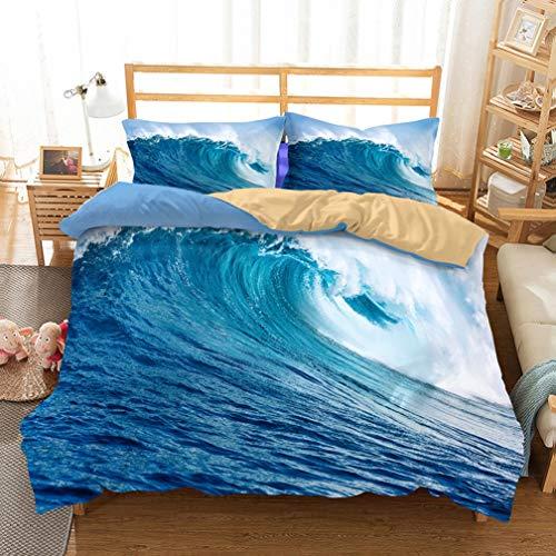 (APJJQ 3D Print Ocean Duvet Cover Set 3 Piece(1 Duvet Cover+2 Pillow Shams),Tropical Beach with Waves Surf Bedding Set King Size for Adults Kids Boys Girls 100% Microfiber)