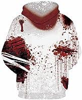 GLUDEAR Unisex Realistic 3D Print Pullover Hooded Sweatshirt Hoodie Big Pocket,L/XL,Blood2