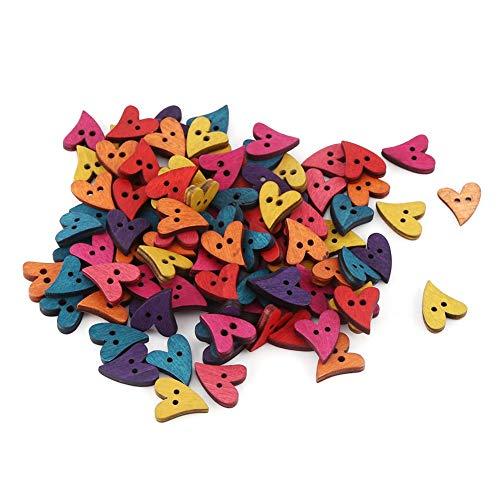GLOGLOW 100pcs Botones de Madera en Forma de corazón, Handimade Crafts Scrapbooking Accesorio 2 Agujeros de Costura Botones...