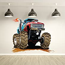 Red Blue Monster Truck Wall Sticker Transport Wall Decal Boys Bedroom Home Decor available in 8 Sizes Medium Digital