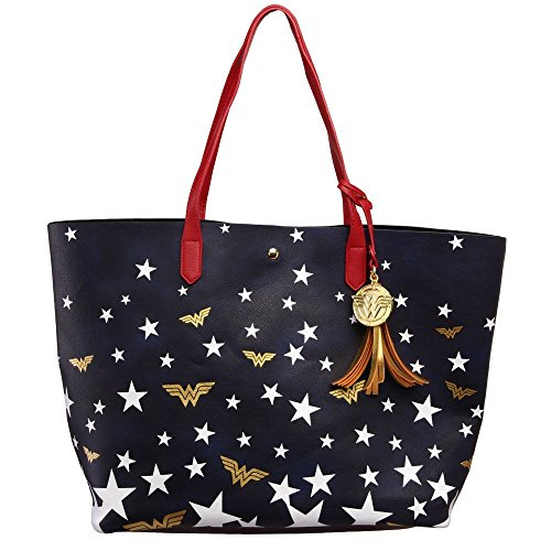 DC Comics Wonder Woman Logo Stars Oversized Tote Bag Purse by Bioworld