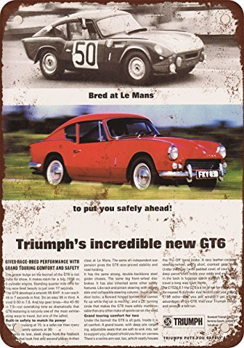 - 1968 Triumph GT6 Vintage Look Reproduction Metal Tin Sign 8X12 Inches