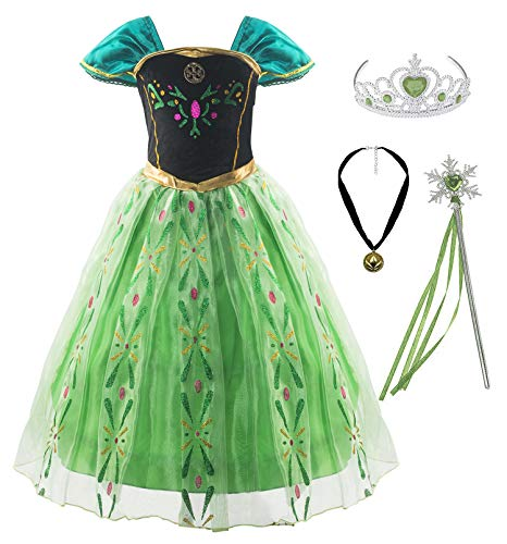 Padete Little Girls Anna Princess Dress Elsa Snow Party Queen Halloween Costume (6 Years, Green with Accessories)