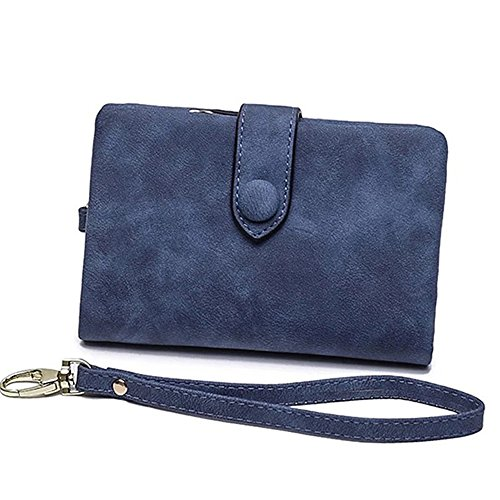Fashion Small Money Wallets Soft Leather Short Wallet Card Holder Change Cash Organized Large Capacity Zipper Buckle Travel Coin Purse with Detachable Wrist Strap (Blue) by CN.JIHAO.H