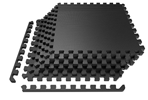 LEVOIT Puzzle Exercise Floor Mat for Gym Equipment, EVA Foam Interlocking Tiles, Protective Flooring for Working Out, Easy Assembly, 24 SQ FT (6 Tiles, 12 Borders), Black