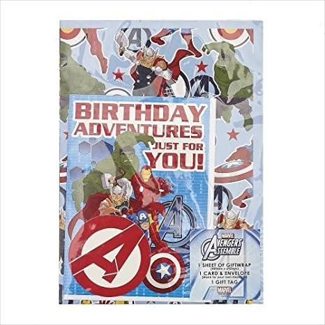 Amazon.com: Disney Vengadores Papel de regalo con tarjeta de ...