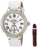 GV2 by Gevril Astor Enamel Womens Diamond Swiss Quartz White Leather Strap Watch, (Model: 9126)