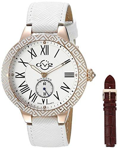 GV2 by Gevril Astor Enamel Womens Diamond Swiss Quartz White Leather Strap Watch, (Model: 9126) by GV2