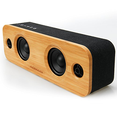 AOMAIS LIFE 30W Bluetooth Speakers, Loud Bamboo Wood Home Audio Wireless Speaker with Super Bass, 3EQ Modes for Home, Outdoors Party & Subwoofer