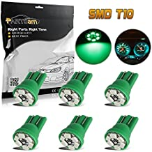 Partsam 6x T10 Wedge Green Speedometer Instrument Gauge Cluster LED Light Bulbs 158 194