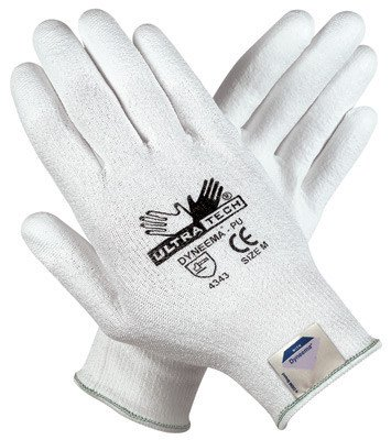Memphis X-Large UltraTech® 13 Gauge Cut Resistant White Polyurethane Dipped Palm And Finger Coated Work Gloves With Dyneema® Liner And Knit Wrist