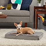 BarkBox Thick Orthopedic Gel Memory Foam Enhanced Dog Bed – Removable Washable Cover – Small – Grey – Free Surprise Inside
