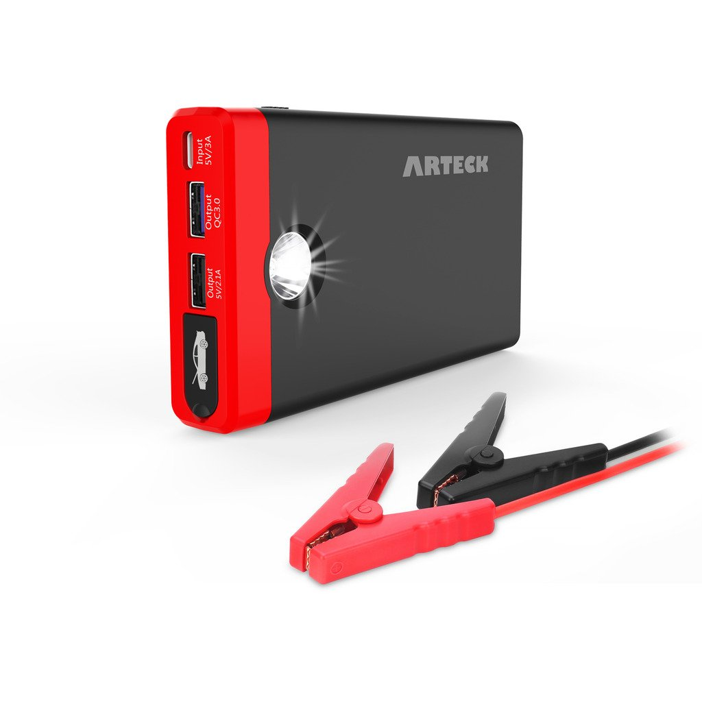 Arteck Car Jump Starter Up To 4.0L Auto Battery Charger and 12000mAh Portable External Battery Charger for Automotive, Motor, Boat, Smart Phone with Clamp, LED Flashlight, 12V Output 400A Peak Current A7