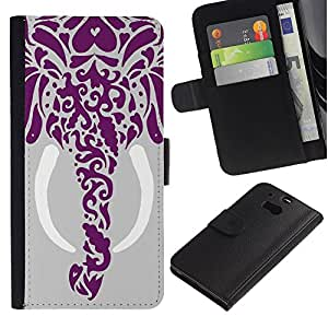 For HTC One M8,S-type® Elephant Art Tusk Gray Drawing - Dibujo PU billetera de cuero Funda Case Caso de la piel de la bolsa protectora