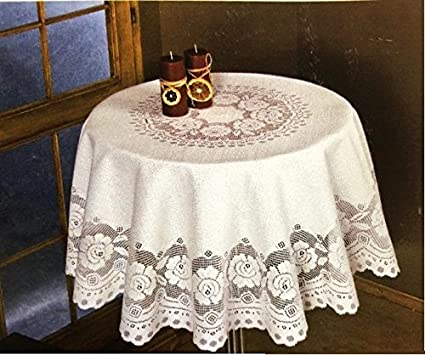 Incroyable Elbaz A Round Ivory European Lace Tablecloth (90 Inch)