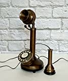 Vintage Style Decorative Antique Brass Candlestick Working Telephone Decor Home.