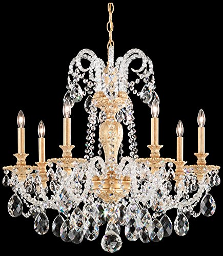 Schonbek 6307-49GS Swarovski Lighting Isabelle Chandelier, Black Pearl