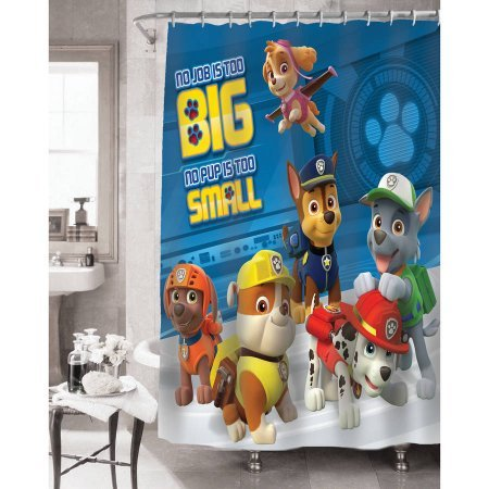 Paw Patrol Bathroom Set, Shower Curtain, Hooks, Bath Mat, Bath Rug and Bath Towel by Franco