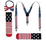 JustinCostume Kids or Boys Bow Tie and Suspenders Set, Patriotic