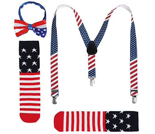 JustinCostume Kids or Boys Bow Tie and Suspenders Set, Patriotic (Set Patriotic)