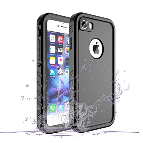 iPhone 8/iPhone 7 Waterproof Case, Waterproof iphone 8 Shockproof Full-body Rugged Cover Case with Built-in Screen Protector for Apple iPhone 8 and iPhone 7 -(Black)