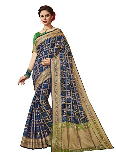 ELINA FASHION Indian Traditional Sarees for Women Patola Art Silk Woven Work Saree,Sari (Blue)