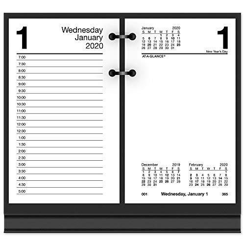 AT-A-GLANCE 2020 Daily Desk Calendar Refill, 3-1/2