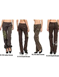 Premium Vintage Fatigues Styled Junior Women's Cargo Pants Army Green & Brown