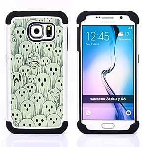 For Samsung Galaxy S6 G9200 - white black spooky Halloween Dual Layer caso de Shell HUELGA Impacto pata de cabra con im??genes gr??ficas Steam - Funny Shop -