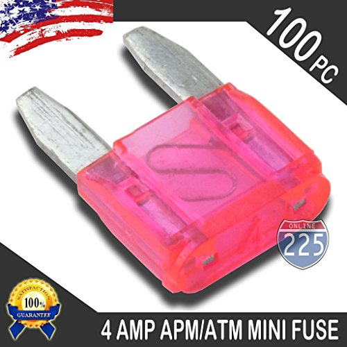 100 Pack 4 AMP APM/ATM 32V Mini Blade Style Fuses 4A Short Circuit Protection Car Fuse