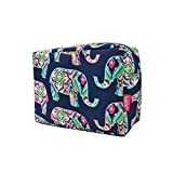 N. Gil Large Travel Cosmetic Pouch Bag (Elephant Navy Blue)