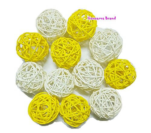 Christmas Gift : Natural Small Wicker Balls With Two Tone Color Yellow And White For DIY Vase And Bowl Filler Ornament, Decorative Spheres Balls Perfect For Decoration And Party 2-2.5 inch 12 Pcs. (Bowl Yellow Decorative)