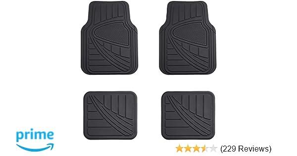 Amazoncom Amazonbasics 4 Piece Car Floor Mat Black Automotive