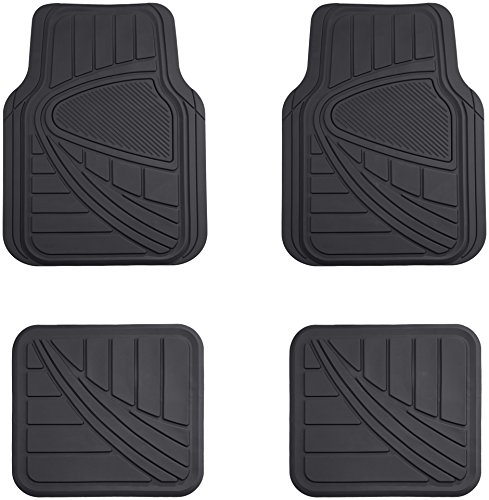 (AmazonBasics 4 Piece Car Floor Mat, Black )