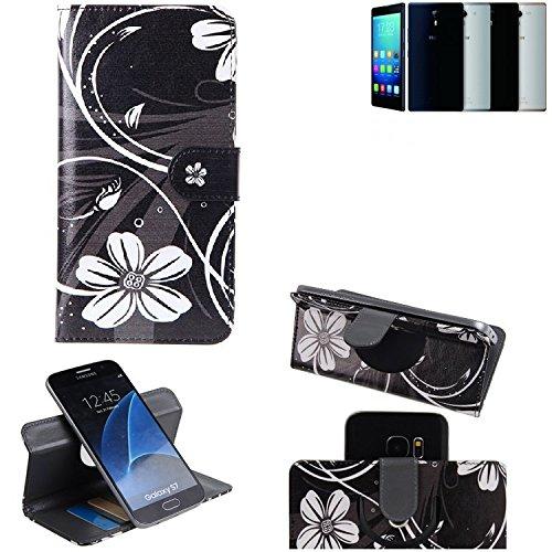 Haier Voyage V5 Cartera Funda Carcasa flores   360° Wallet Case Protección innovadora de la cámara - K-S-Trade (TM)
