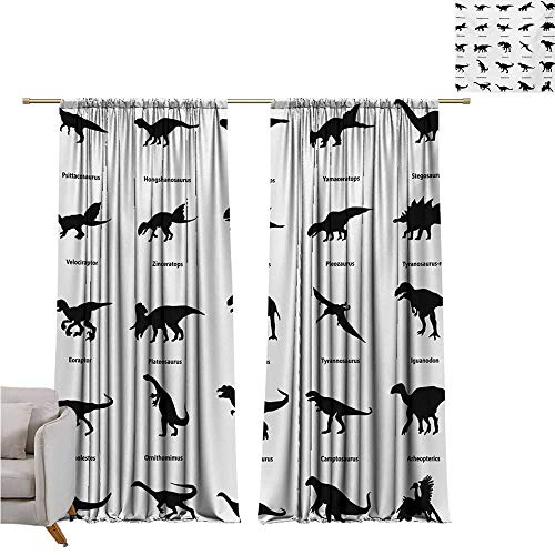 - cashewii Dinosaur Printed Curtain Collection of Different Dinosaurs Silhouettes with Their Names Evolution Wildlife for Living, Dining, Bedroom (Pair) W72 x L96 Black White