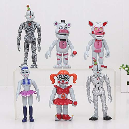 VIET FG 6Pcs/Set 10Cm Five Nights at Freddy's 4 Sister Location Chica Funtime Foxy Ballora Puppet Gold Freddy FNAF PVC Action Figure Toy]()