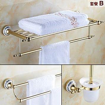 Los Adornos de Oro de Cobre empacan el toallero de baño, el Inodoro, el Inodoro Incorporado, el Paquete C (Color : Suite B): Amazon.es: Hogar