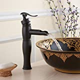 FLG Antique Luxury Oil Rubbed Bronze Plumbing Countertop Mounted One Hole Bathroom Faucet Single Handle Oil Rubbed Bronze Smooth Finished