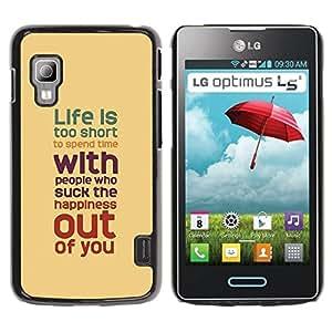 Paccase / SLIM PC / Aliminium Casa Carcasa Funda Case Cover para - Quote Motivational Yellow Teal Pastel - LG Optimus L5 II Dual E455 E460