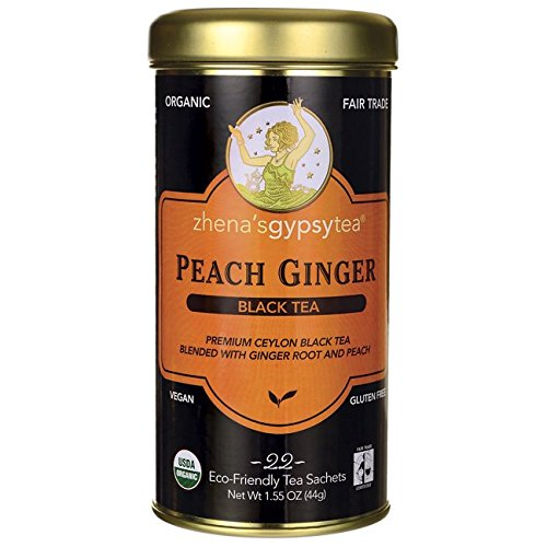 Zhena's Gypsy Tea, Peach Ginger,1.55 oz(44g), 22 Count Tea - Zhena Gypsy Tin