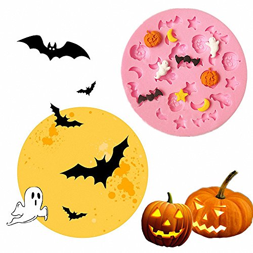 Small-Size Halloween Cartoon Moons Stars Pumpkins Ghosts Bats Silicone Fondant Cake Candy Molds Chocolate Making Mould for Kitchen Baking -