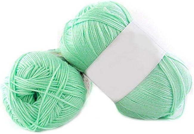 1 lana de bambú para tejer de 50 g por madeja de algodón suave de punto para bebé Amesii #12 Grass Green: Amazon.es: Hogar