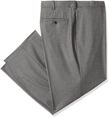 Haggar Men's Big and Tall B&t J.m Premium Stretch Classic Fit Plain Front Pant, Medium Grey, 46Wx32L by Haggar