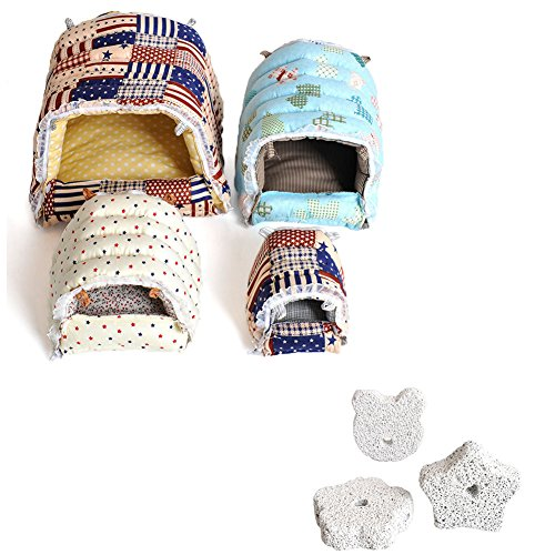 Fully Sleeping Bag Pet Beds Cave Mat Cozy Warm House Hanging Hammock + 3X Lava Bites Chew Treats Teeth Grinding Block Stone Degu Chinchilla Hamster (Hammock L: (24x21x21cm/9.44×8.26×8.26″), random)