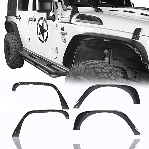 Hooke Road Metal Steel Wide Flat Fender Flares for 2007-2018 Jeep Wrangler JK & Unlimited - 4 PCS Set, Included Front & Rear Fenders, Textured Black Powder Coated